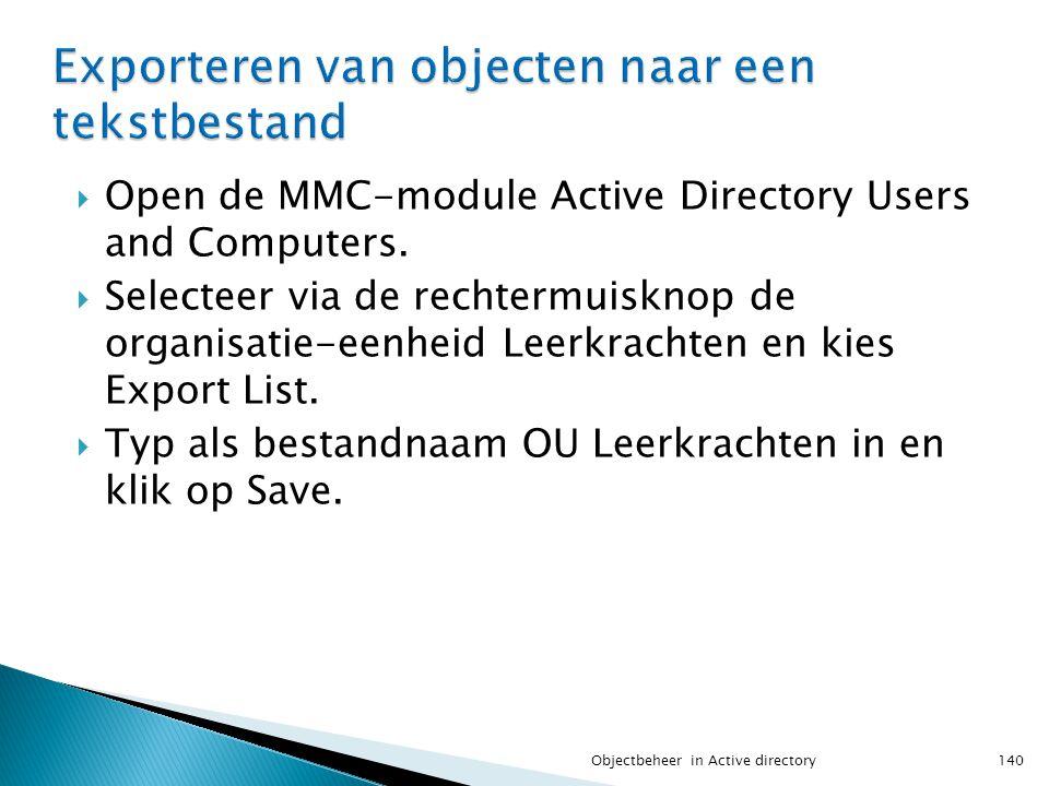 Exporteren van objecten naar een tekstbestand