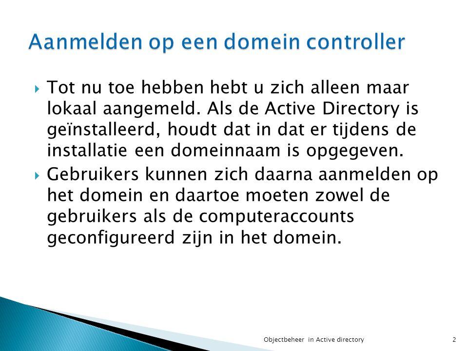 Aanmelden op een domein controller