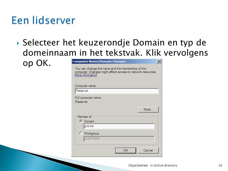 Een lidserver Selecteer het keuzerondje Domain en typ de domeinnaam in het tekstvak. Klik vervolgens op OK.