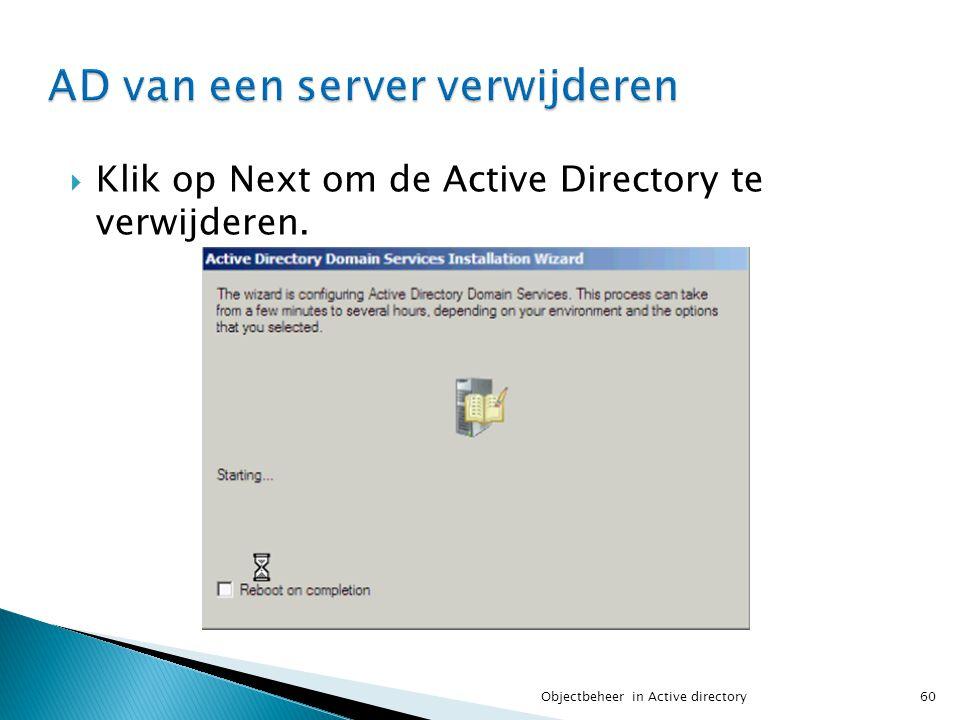 AD van een server verwijderen