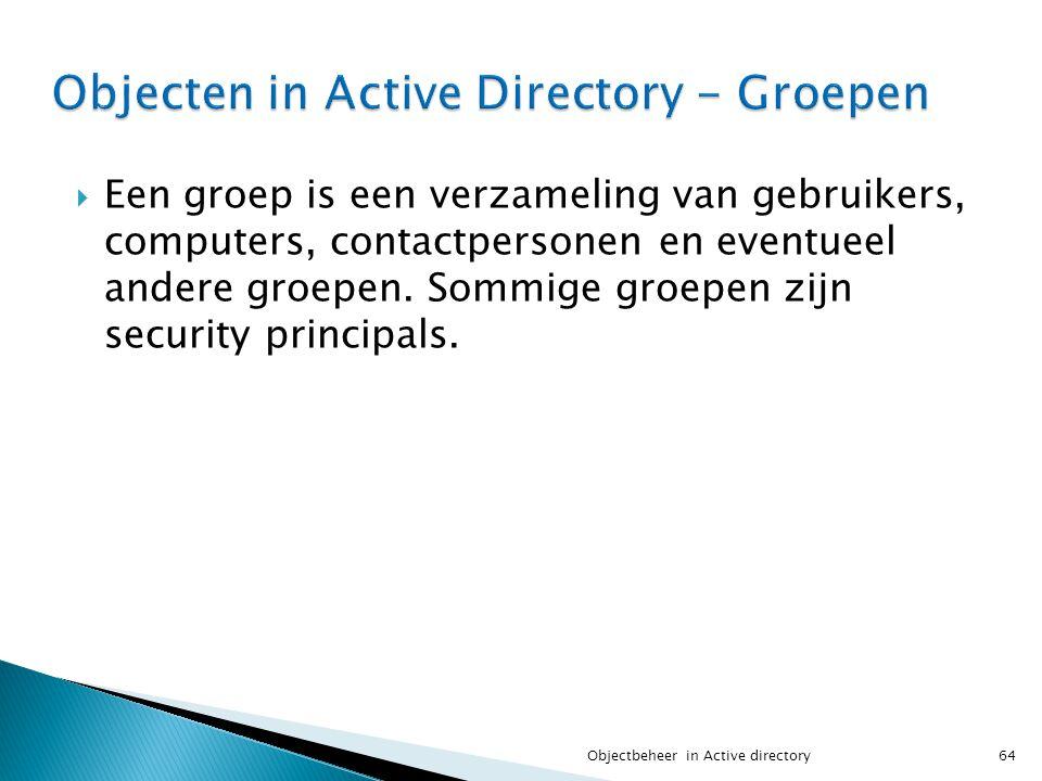 Objecten in Active Directory - Groepen