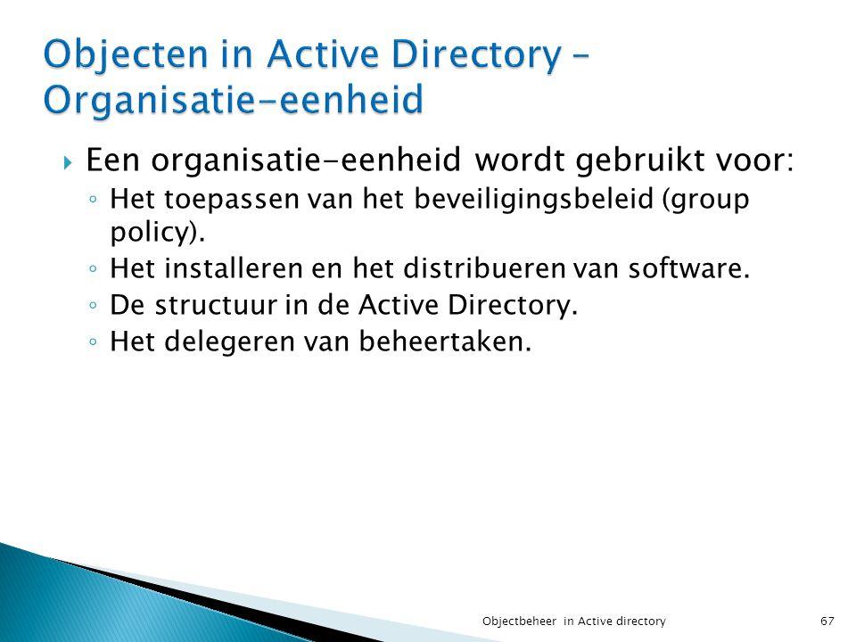 Objecten in Active Directory – Organisatie-eenheid