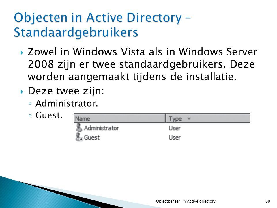 Objecten in Active Directory – Standaardgebruikers