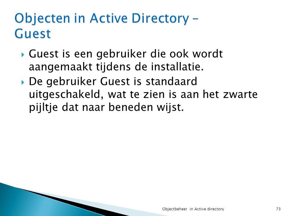 Objecten in Active Directory – Guest