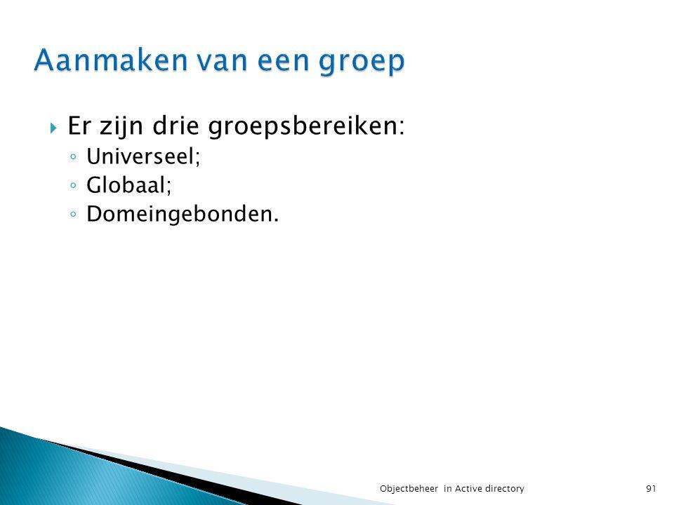 Aanmaken van een groep Er zijn drie groepsbereiken: Universeel;