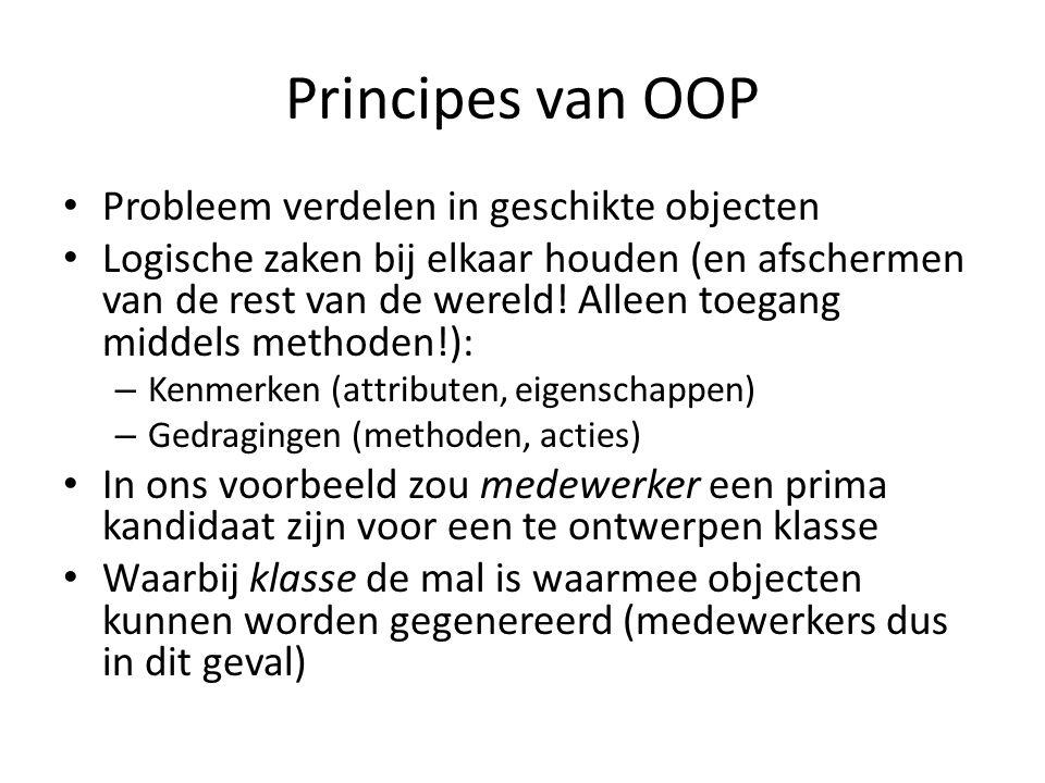 Principes van OOP Probleem verdelen in geschikte objecten
