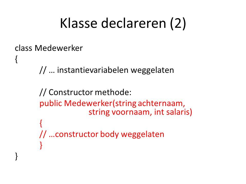 Klasse declareren (2)