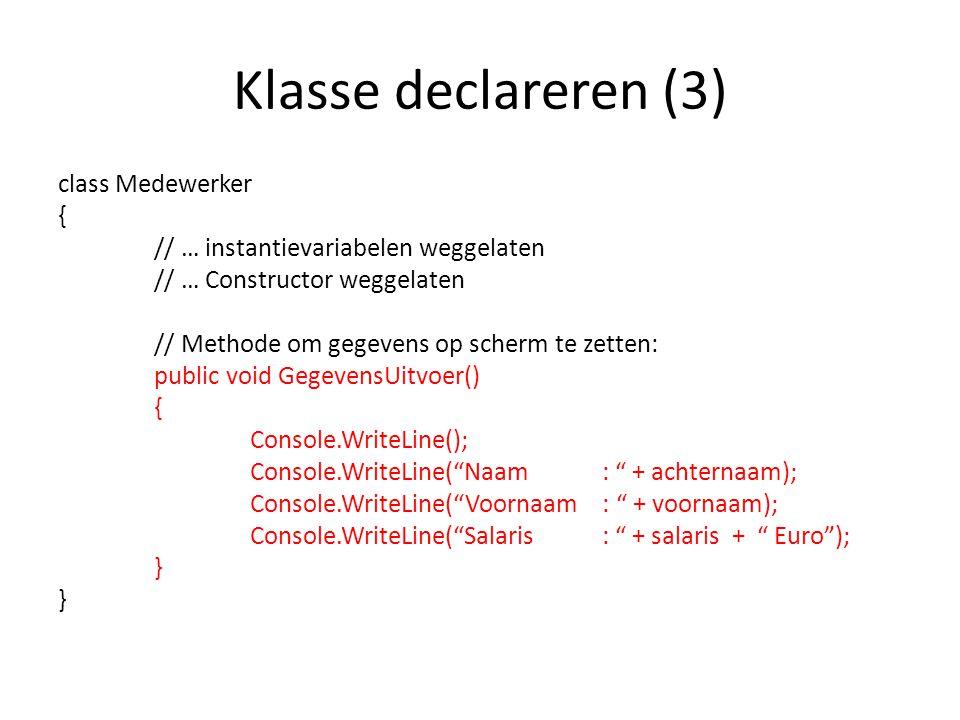 Klasse declareren (3)