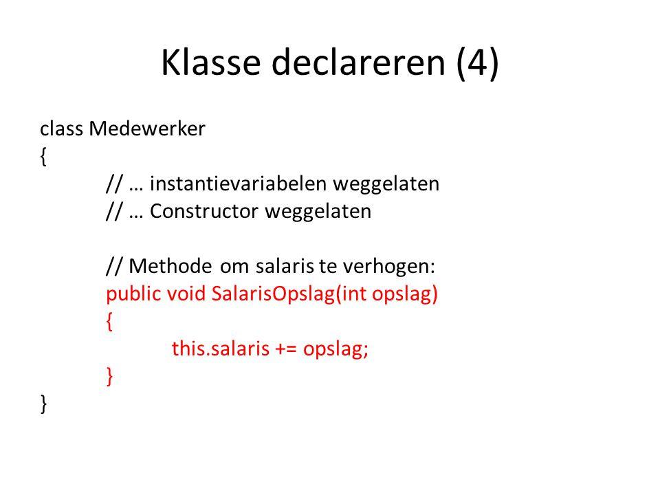 Klasse declareren (4)
