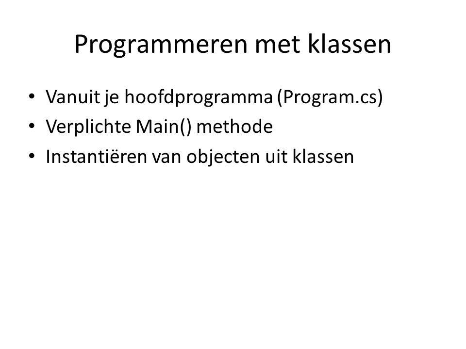 Programmeren met klassen