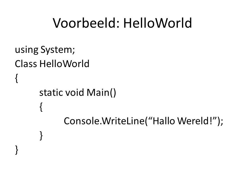 Voorbeeld: HelloWorld