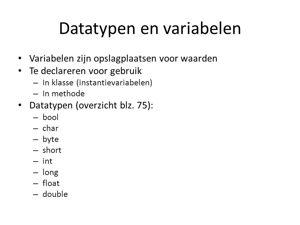 Datatypen en variabelen