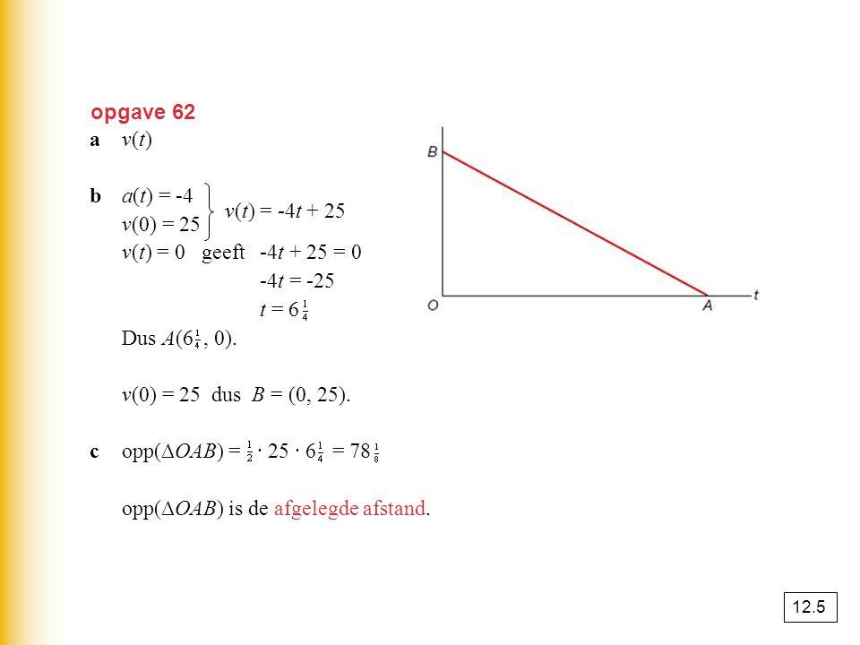 opp(∆OAB) is de afgelegde afstand. v(t) = -4t + 25