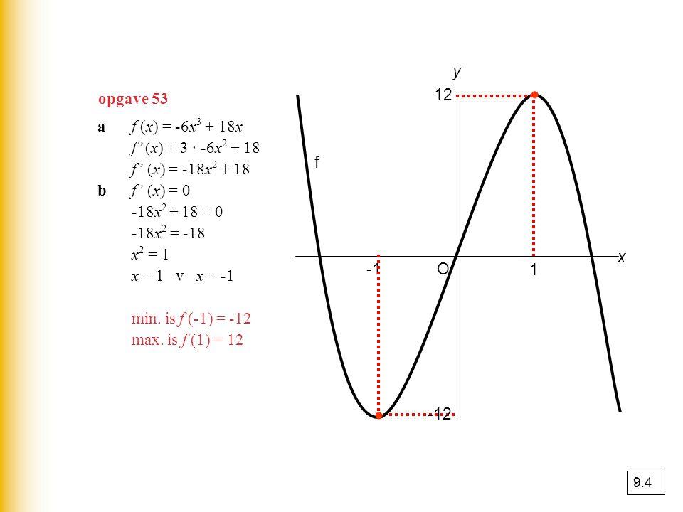 ∙ ∙ y opgave 53 12 a f (x) = -6x3 + 18x f' (x) = 3 · -6x2 + 18