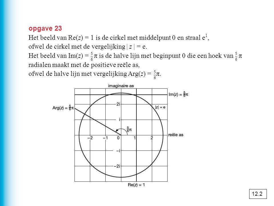 Het beeld van Re(z) = 1 is de cirkel met middelpunt 0 en straal e1,