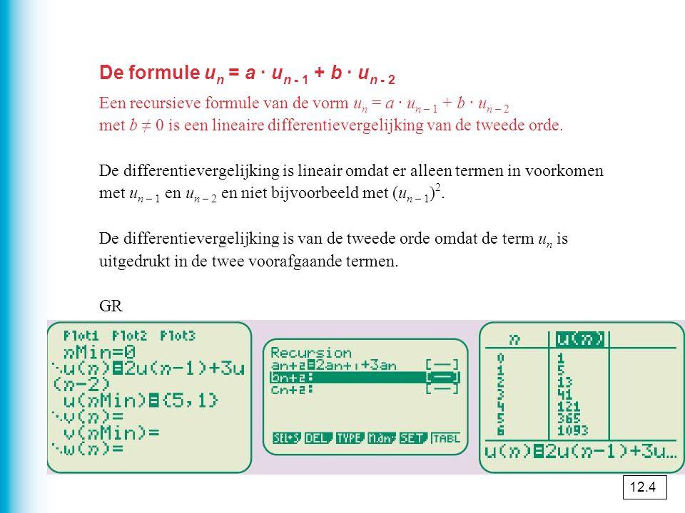 De formule un = a · un - 1 + b · un - 2