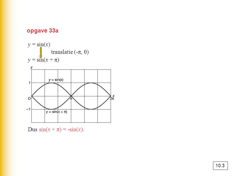 opgave 33a y = sin(x) translatie (-π, 0) y = sin(x + π)