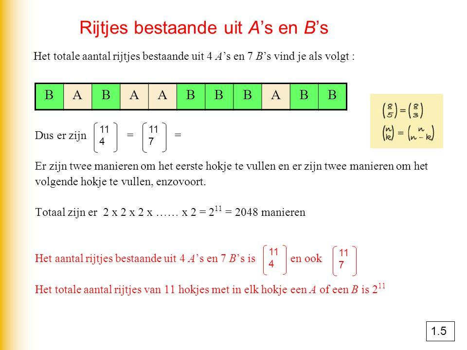 Rijtjes bestaande uit A's en B's