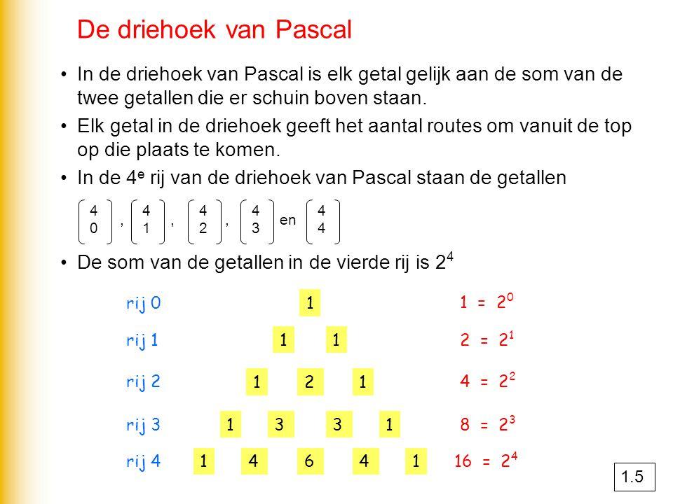 De driehoek van Pascal In de driehoek van Pascal is elk getal gelijk aan de som van de twee getallen die er schuin boven staan.