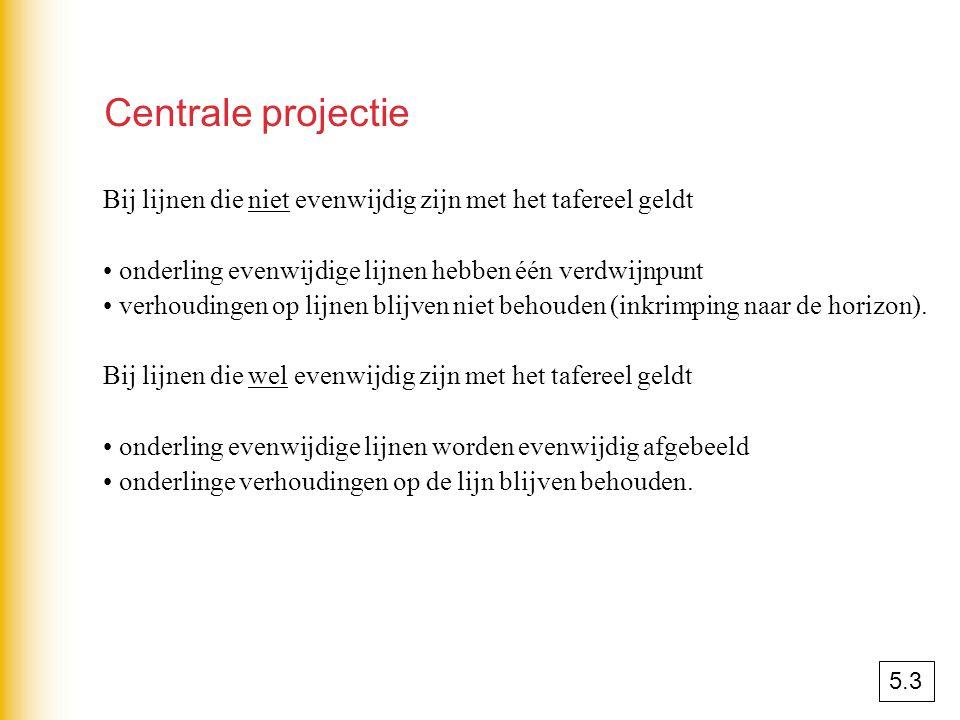 Centrale projectie Bij lijnen die niet evenwijdig zijn met het tafereel geldt. onderling evenwijdige lijnen hebben één verdwijnpunt.