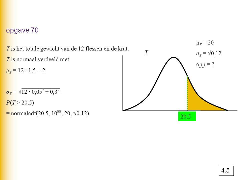 opgave 70 μT = 20. σT = √0,12. opp = T is het totale gewicht van de 12 flessen en de krat. T is normaal verdeeld met.