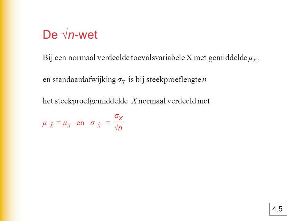 De √n-wet Bij een normaal verdeelde toevalsvariabele X met gemiddelde μX , en standaardafwijking σX is bij steekproeflengte n.