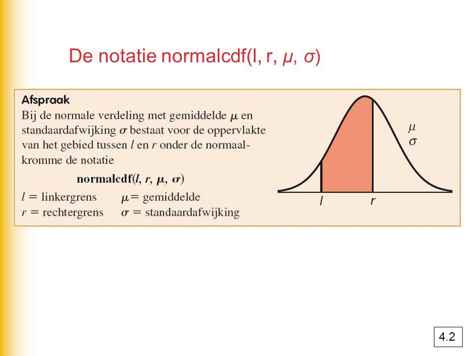 De notatie normalcdf(l, r, μ, σ)