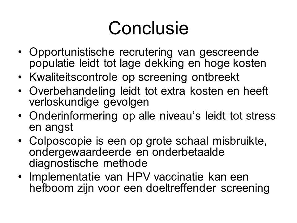 Conclusie Opportunistische recrutering van gescreende populatie leidt tot lage dekking en hoge kosten.