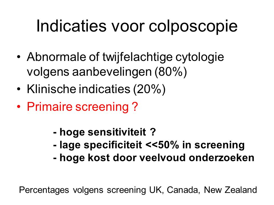 Indicaties voor colposcopie