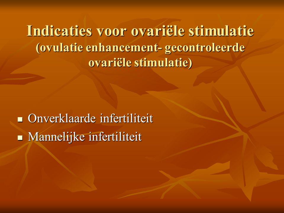 Indicaties voor ovariële stimulatie (ovulatie enhancement- gecontroleerde ovariële stimulatie)