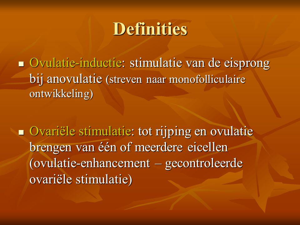 Definities Ovulatie-inductie: stimulatie van de eisprong bij anovulatie (streven naar monofolliculaire ontwikkeling)