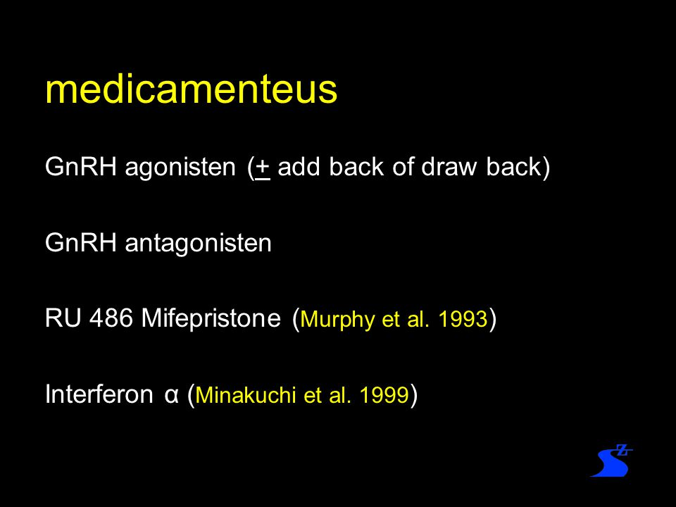 medicamenteus GnRH agonisten (+ add back of draw back)