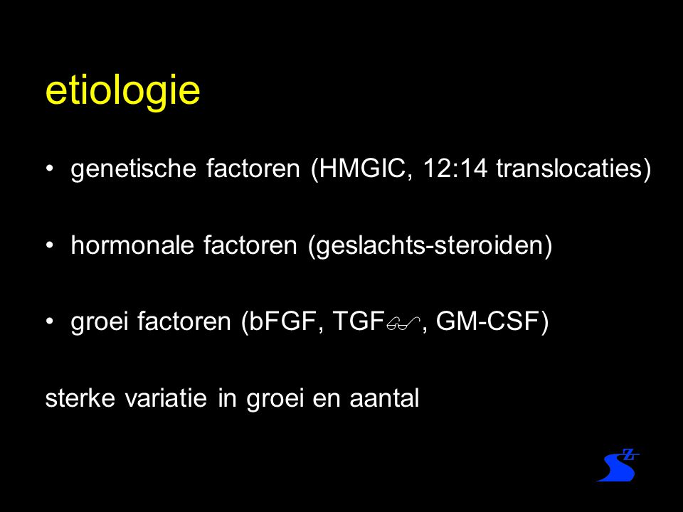 etiologie genetische factoren (HMGIC, 12:14 translocaties)