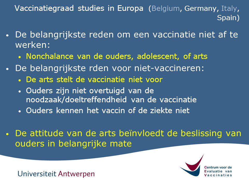 Vaccinatiegraad studies in Europa (Belgium, Germany, Italy, Spain)