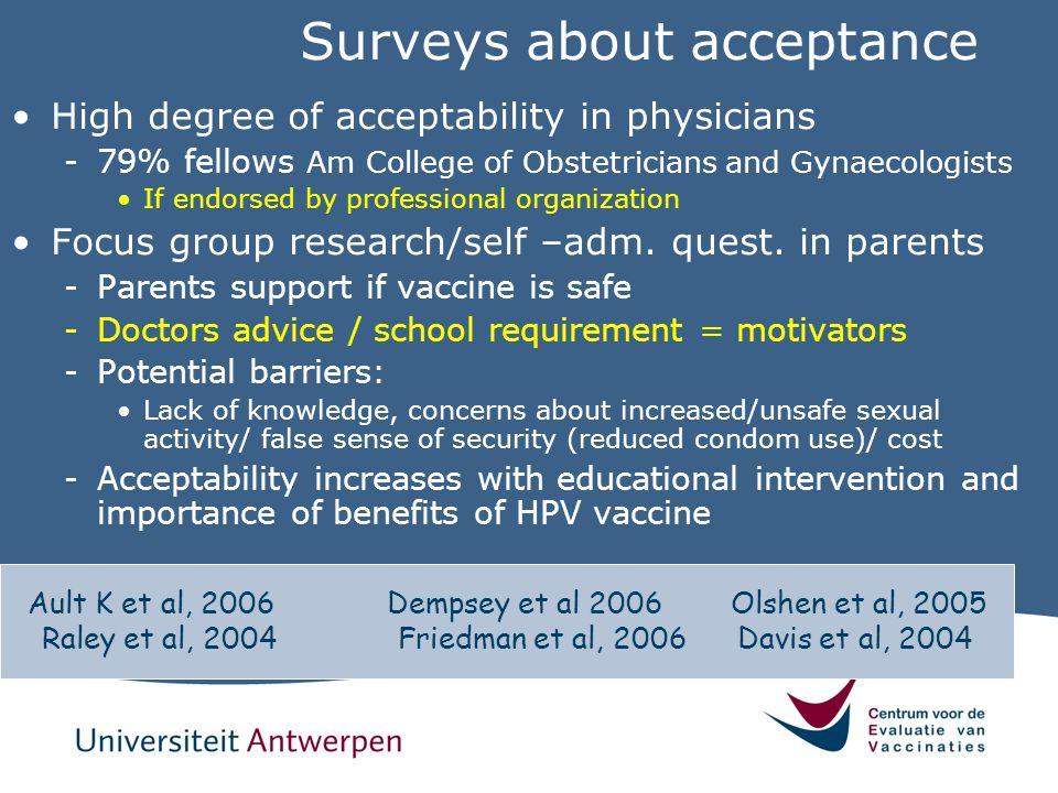 Surveys about acceptance