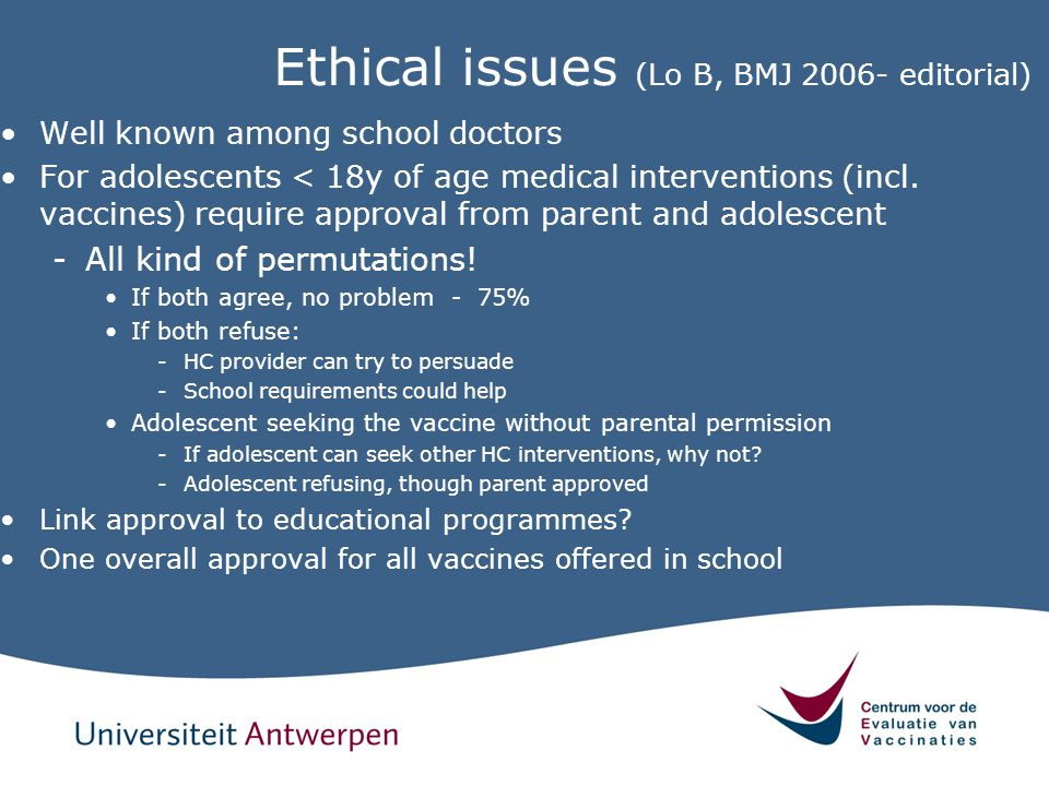 Ethical issues (Lo B, BMJ 2006- editorial)