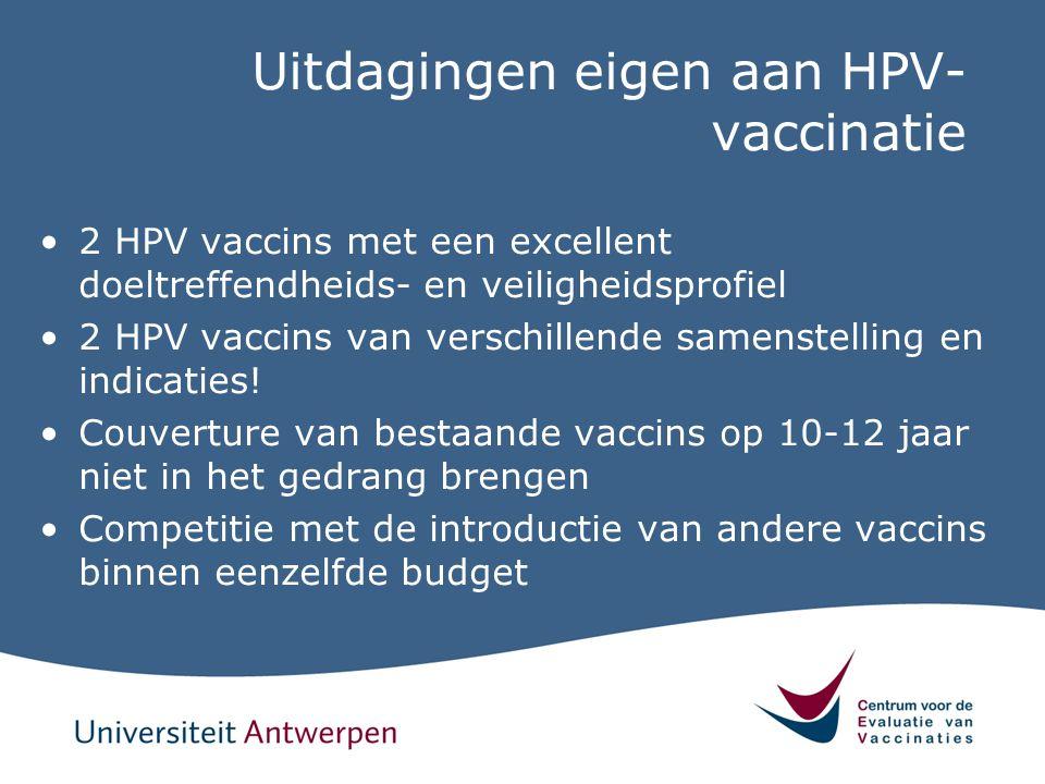 Uitdagingen eigen aan HPV-vaccinatie