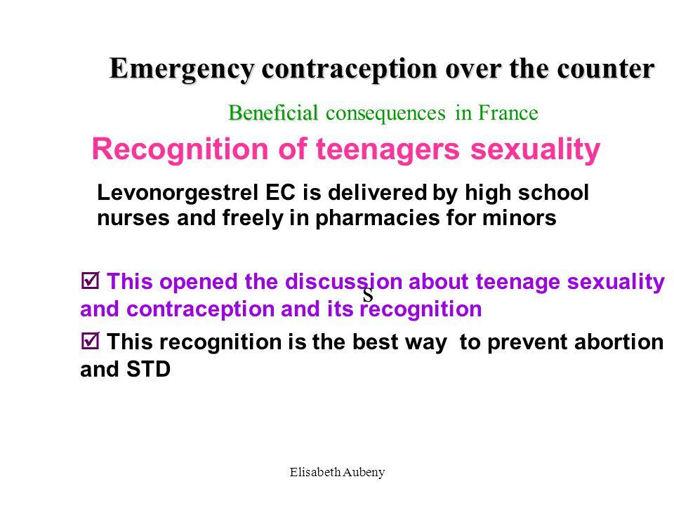 Emergency contraception over the counter Beneficial consequences in France
