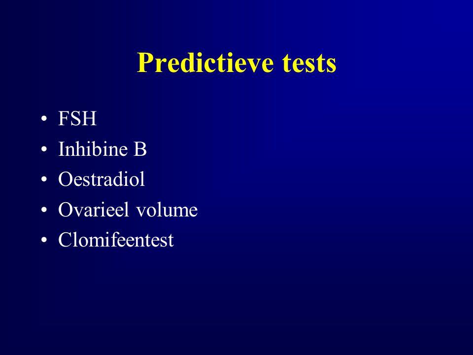 Predictieve tests FSH Inhibine B Oestradiol Ovarieel volume