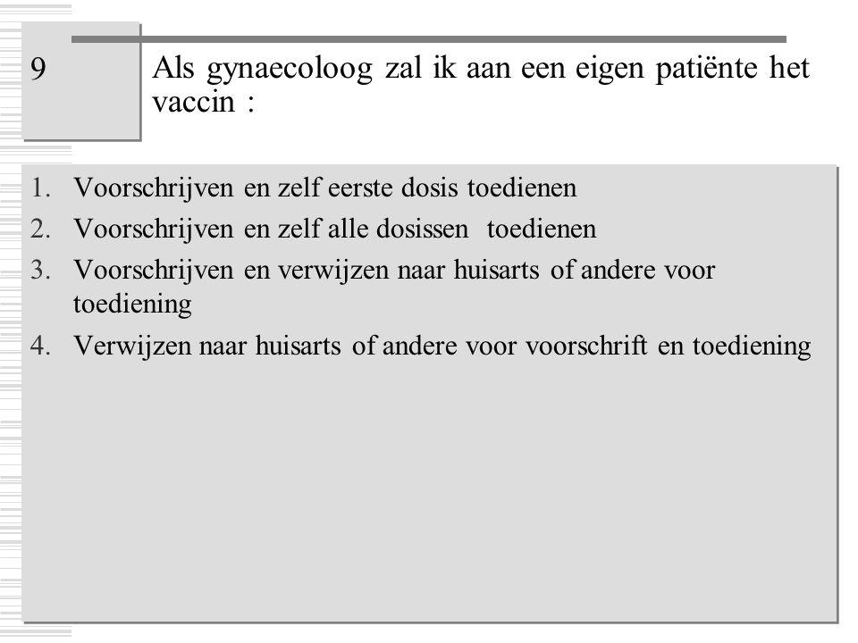Als gynaecoloog zal ik aan een eigen patiënte het vaccin :