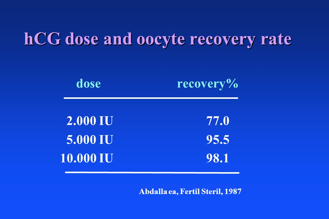 hCG dose and oocyte recovery rate