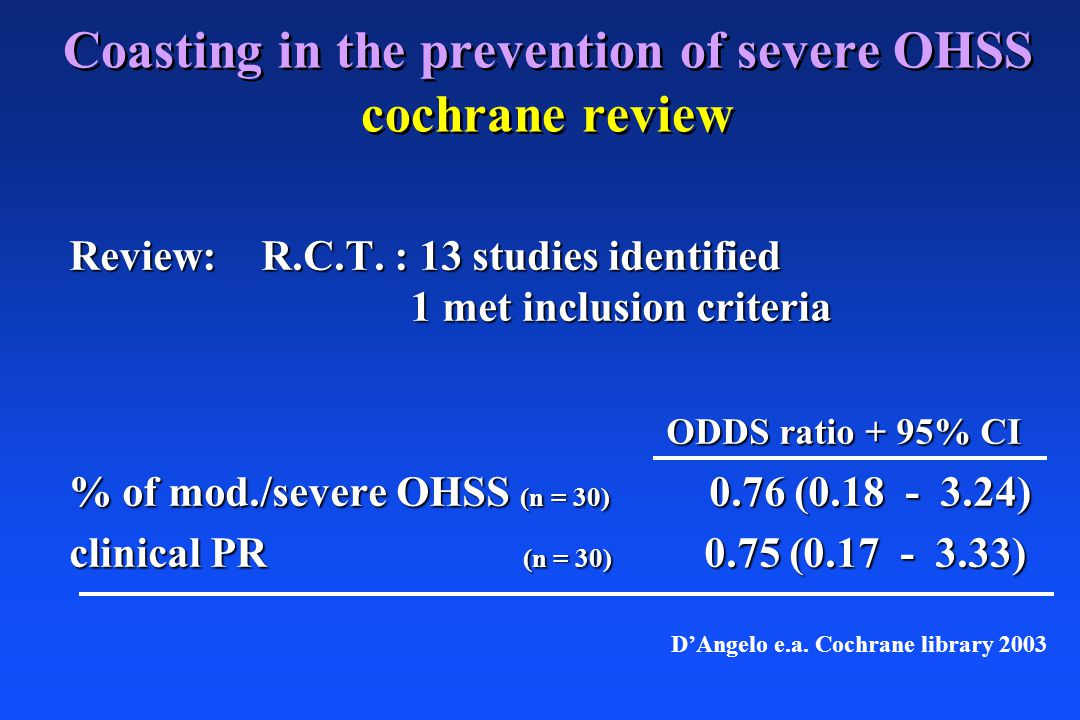 Coasting in the prevention of severe OHSS cochrane review