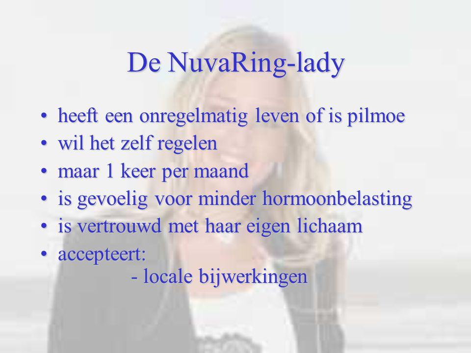 De NuvaRing-lady heeft een onregelmatig leven of is pilmoe