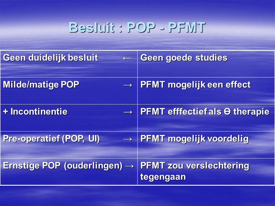 Besluit : POP - PFMT Geen duidelijk besluit ← Geen goede studies