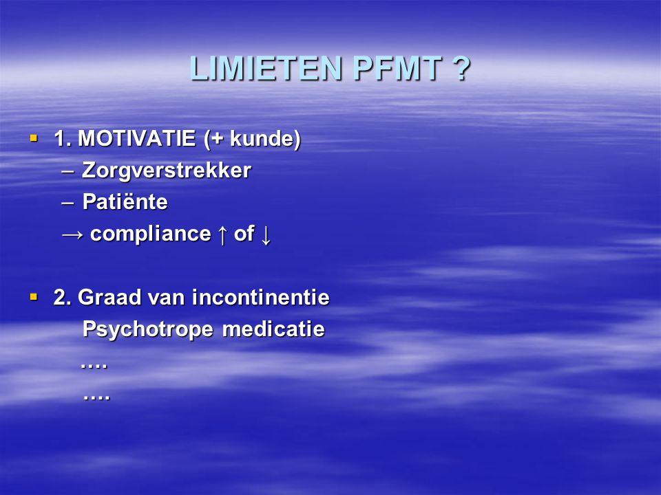 LIMIETEN PFMT 1. MOTIVATIE (+ kunde) Zorgverstrekker Patiënte