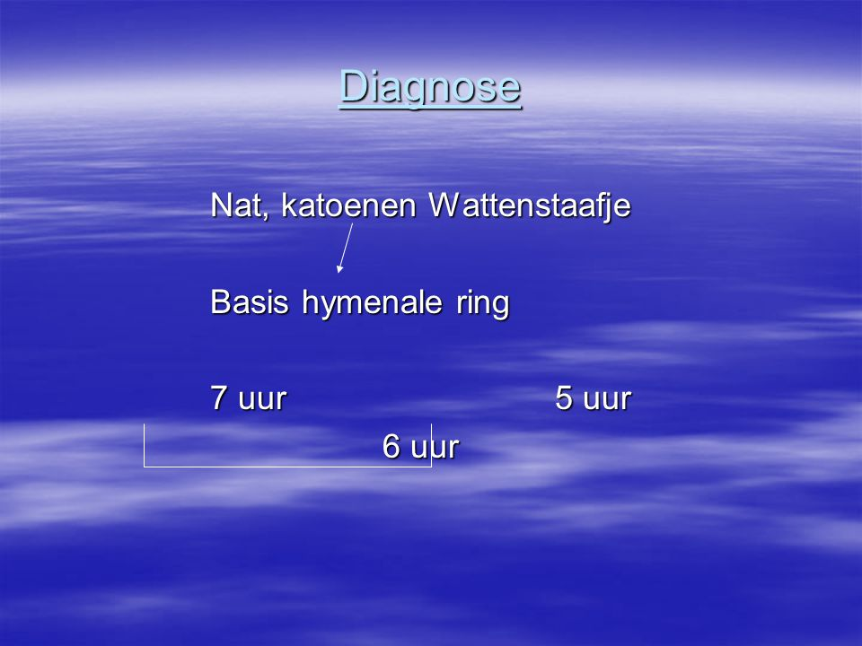Diagnose Nat, katoenen Wattenstaafje Basis hymenale ring 7 uur 5 uur