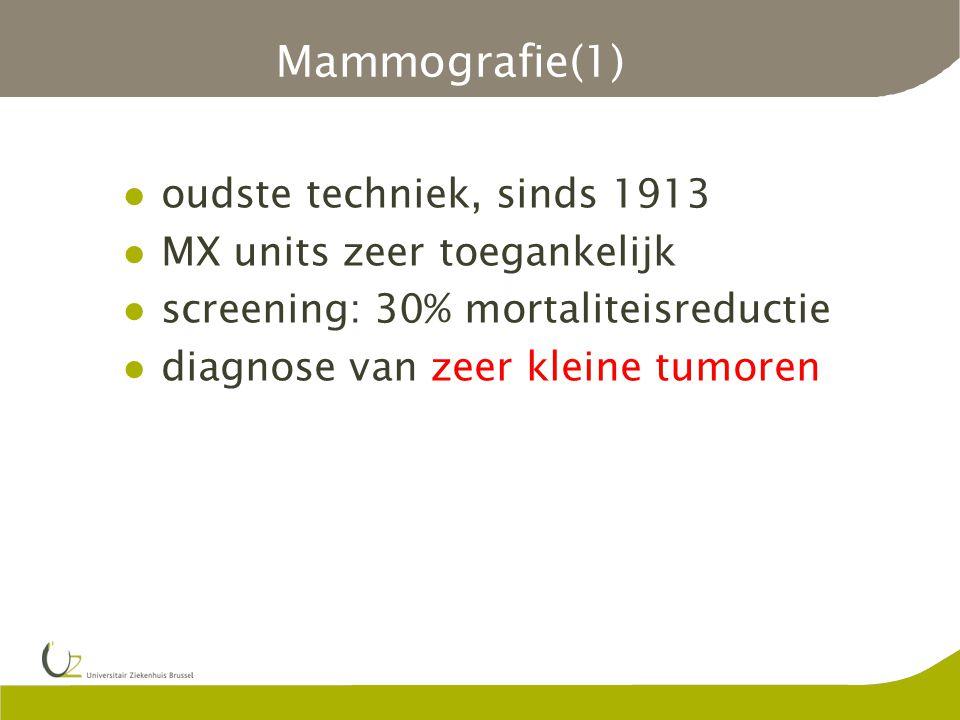Mammografie(1) oudste techniek, sinds 1913 MX units zeer toegankelijk
