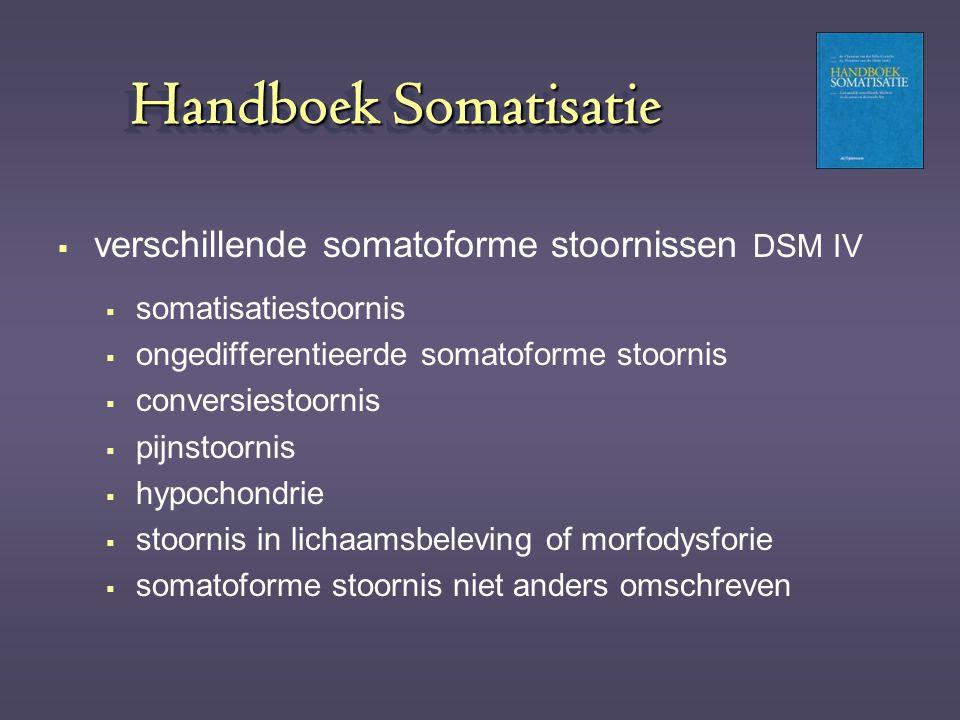 Handboek Somatisatie verschillende somatoforme stoornissen DSM IV