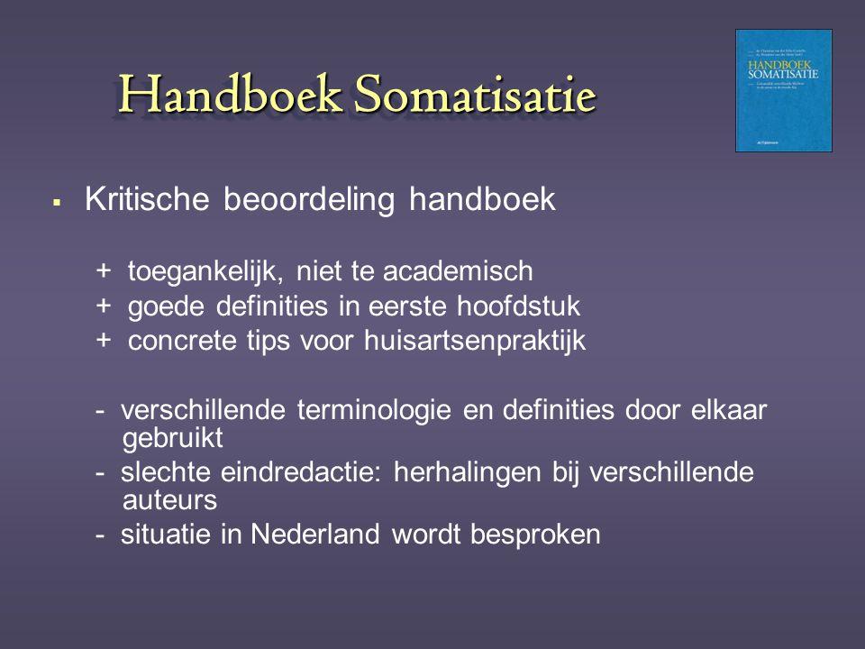 Handboek Somatisatie Kritische beoordeling handboek