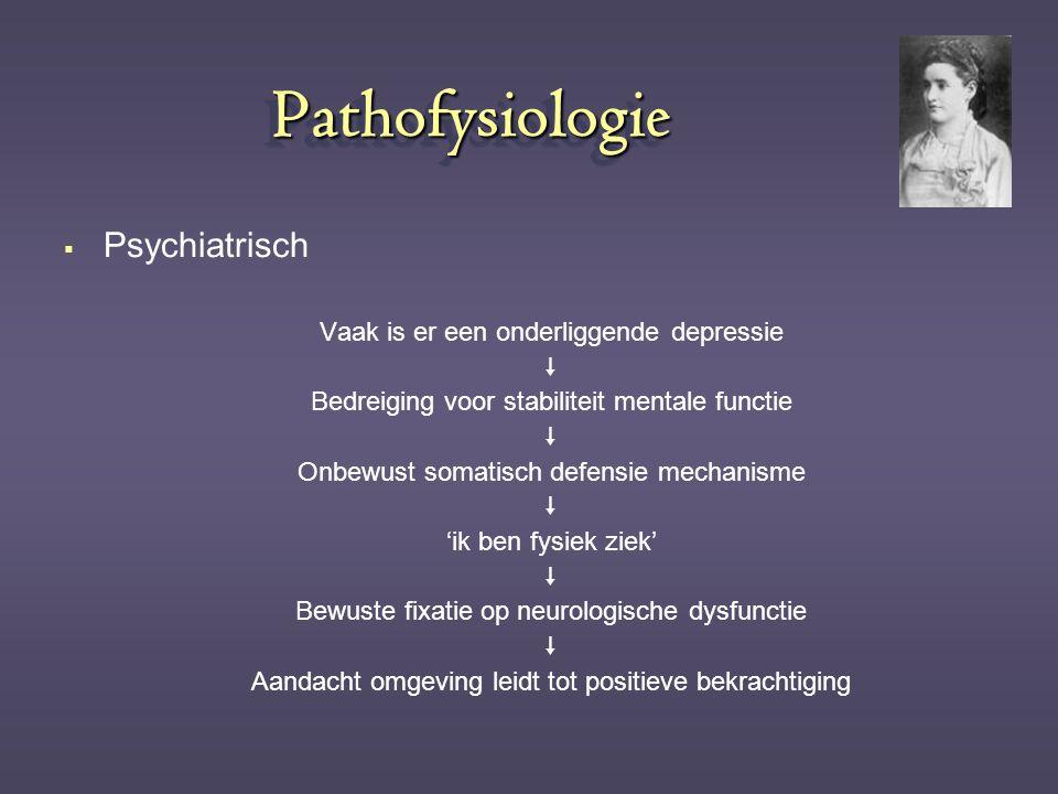 Pathofysiologie Psychiatrisch Vaak is er een onderliggende depressie 